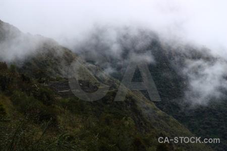 Inca trail sayaqmarka altitude fog south america.