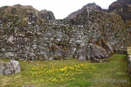 Inca trail sky ruin grass altitude.