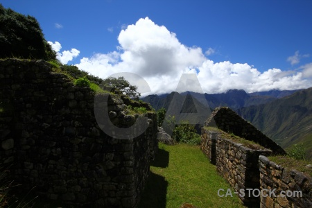 Inca trail yunkapata grass stone peru.