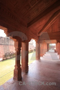 India fort building akbar column.