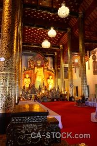 Inside buddha buddhist pillar wat chedi luang.