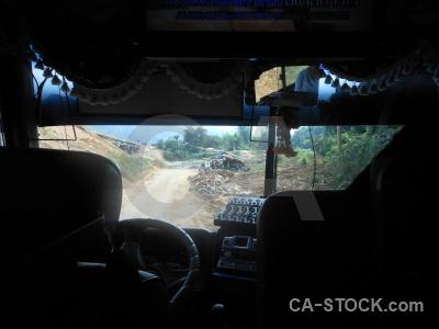 Inside rock vehicle asia laos.