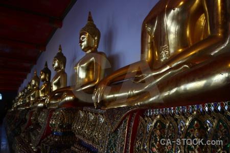 Inside southeast asia bangkok wat pho gold.