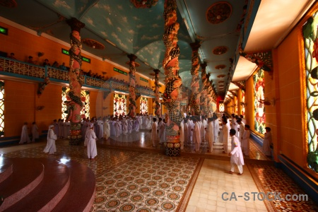 Inside southeast asia temple hall tay ninh holy see.