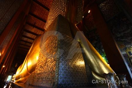 Inside southeast asia temple of the reclining buddha wat pho bangkok.
