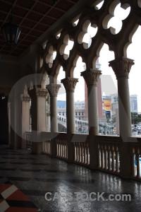 Interior black building archway.
