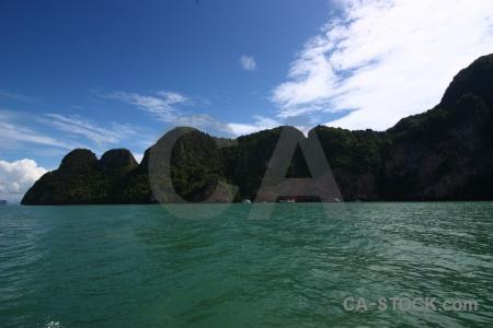 Island limestone tropical thailand water.