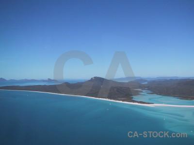 Island sea aerial cyan blue.