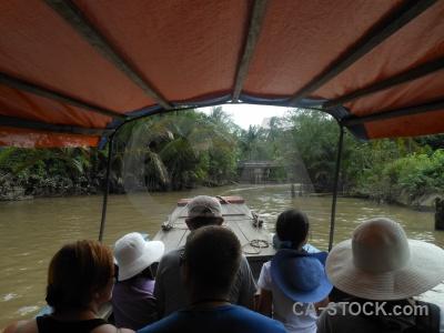 Island southeast asia boat con thoi son palm tree.