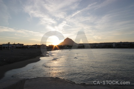 Javea beach cloud sunset spain.
