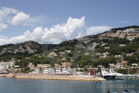 Javea building cloud harbour boat.