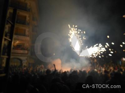Javea fiesta building correfocs firework.