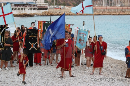 Javea fiesta flag person moors.