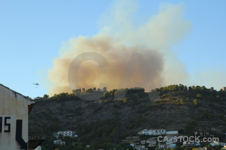 Javea montgo fire smoke helicopter europe.