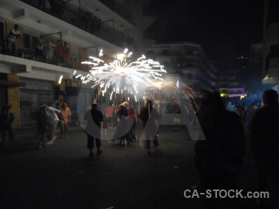 Javea person correfocs building firework.