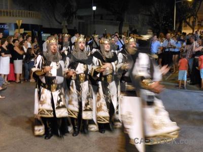 Javea person costume fiesta road.