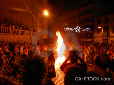 Javea person flame building fiesta.