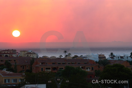 Javea sun smoke sunrise sunset.