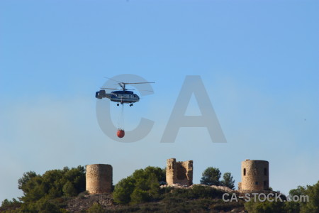 Javea vehicle spain montgo fire helicopter.