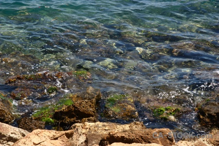 Javea water europe seaweed rock.