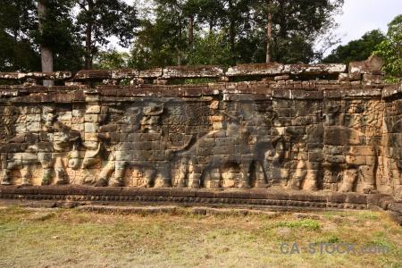 Khmer siem reap lichen carving ruin.
