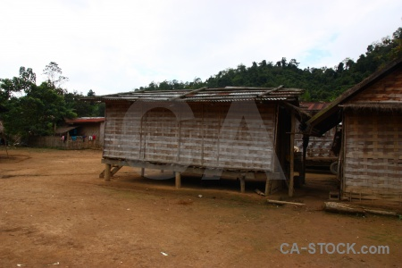 Khmu building hut laos asia.