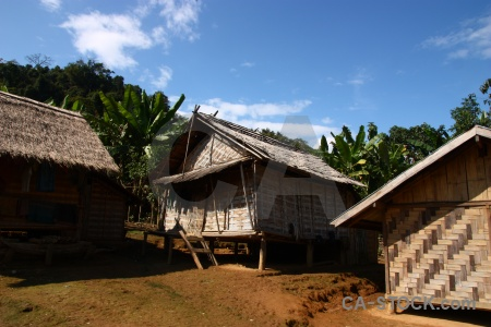 Khmu southeast asia palm tree hut houay fai.
