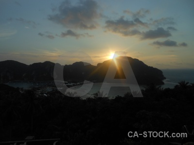 Ko phi don sunrise sunset tropical sea.