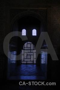 La alhambra de granada black palace interior building.