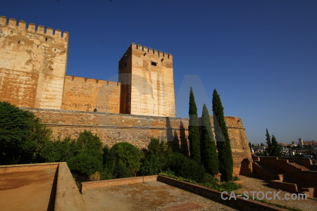 La alhambra de granada blue orange historic europe.