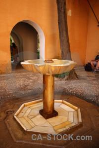 La alhambra de granada building orange fountain palace.