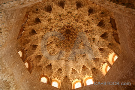 La alhambra de granada fortress interior orange ceiling.
