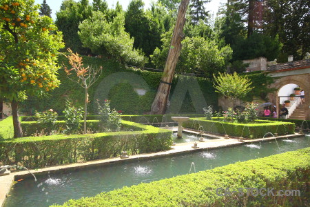 La alhambra de granada garden fortress pond park.