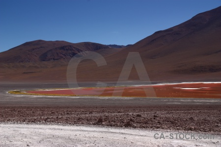 Laguna colorada salt lake altitude sky landscape.