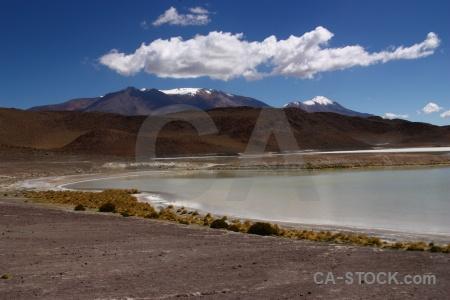 Laguna honda andes snowcap cloud bolivia.