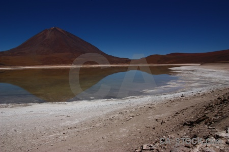 Lake andes south america licancabur landscape.