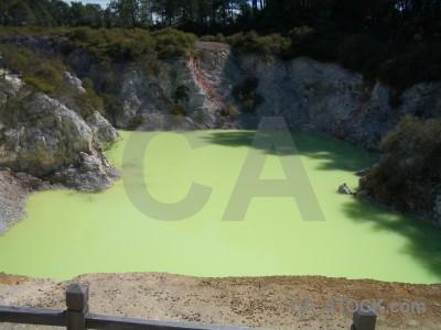 Lake green water volcanic.