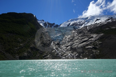 Lake south america huemul glacier snow water.