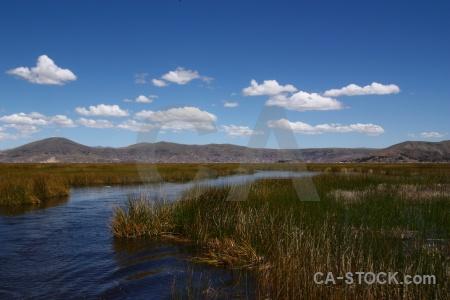 Lake titicaca landscape sky totora reed uros.