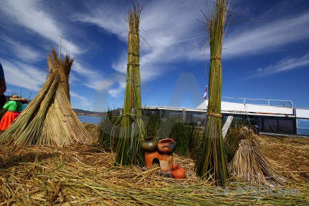 Lake titicaca water reed boat vehicle.