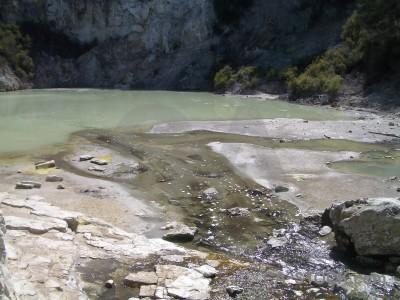 Lake water volcanic.