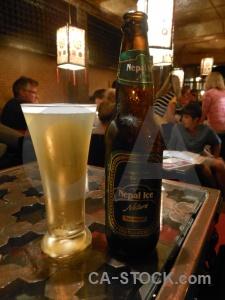 Lamp drink glass kathmandu beer.