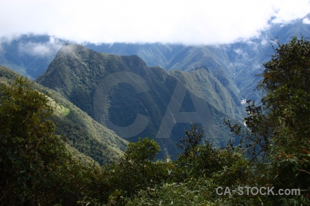 Landscape altitude aguas calientes ruin mountain.