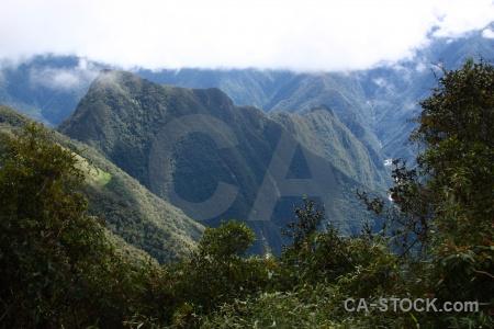 Landscape altitude aguas calientes ruin mountain.