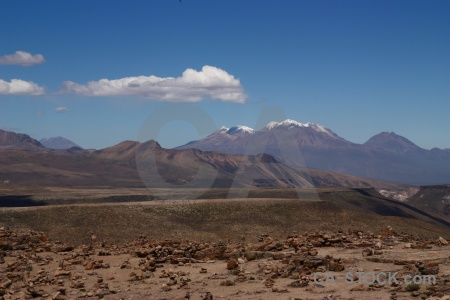 Landscape andes sky mountain crucero alto.