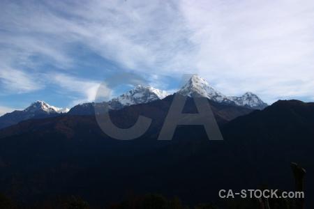 Landscape cloud annapurna sanctuary trek snowcap himalayan.
