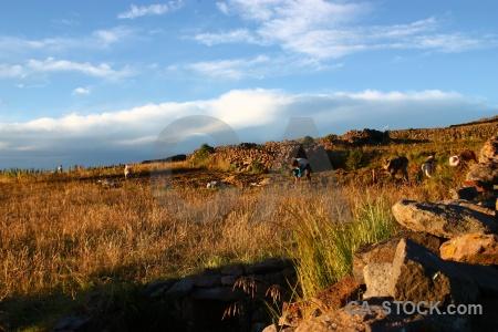 Landscape lake titicaca andes amantani puno.