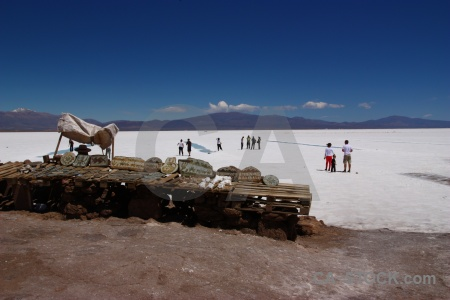 Landscape mountain salinas grandes salt flat person.