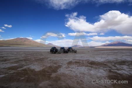 Landscape mountain vehicle salt flat altitude.