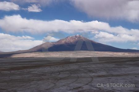 Landscape salt flat mountain salar de chiguana sky.